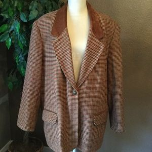 Vintage Koret Suede Collar Plaid Blazer